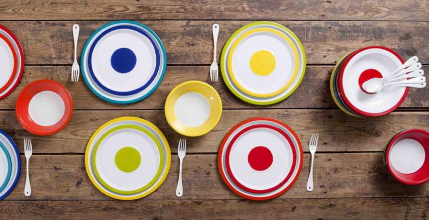 PLATES - blue - yellow - red